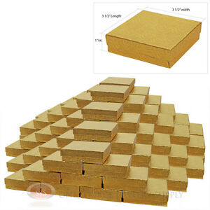 100 Gold Swirl Cotton Filled Gift Boxes 3 1 2 X 3 1 2