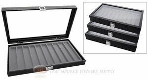 3 Glass Top Wooden Cases W Gray 10 Slot Organizer Inserts Jewelry Displays