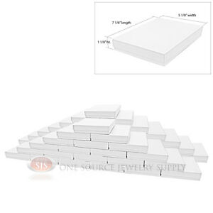 50 White Swirl Cardboard Cotton Filled Jewelry Gift Boxes 7 1 8 X 5 1 8 X 1 1 8