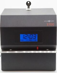Pyramid 3700 Heavy Duty Steel Time Clock And Document Stamp w Key