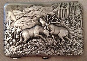 Russian 84 Silver Cigarette Case Deer Fight Beautiful Details Must See