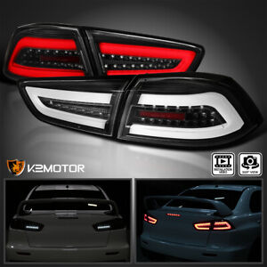 For 2008 2017 Mitsubishi Lancer 08 15 Evo X Black Led Brake Tail Lights Bar Lamp