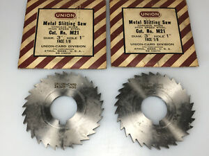 lot Of 2 Union 1 8 Metal Slitting Saw Milling Cutter 3 Hss W 1 Hole