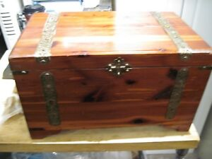 Very Old Cedar Wooden Box Metal Latch Hand Made Letter Chest With Metal Trim