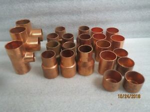 Copper Fittings 20 1 1 4 3 1 1 2 Fittings new Lot Of 23 Items free Ship