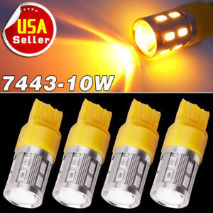 4x 7443 High Power Amber Yellow 2835 12led 440lm Turn Signal Parking Light Bulbs
