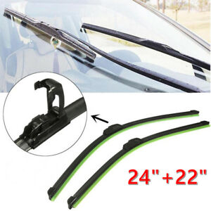 Pair 24 22 All Season Bracketless J Hook Windshield Wiper Blades Oem Quality
