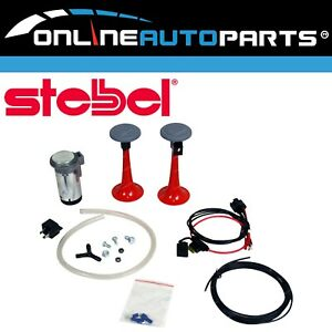 Compact Twin Trumpet Red Air Horn Kit 12 Volt 115db Wiring Relay Stebel