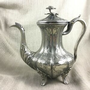 Antique Silverplate Coffee Pot Jug Ornate Chased Engraving Victorian