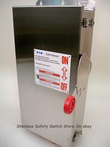 Eaton Stainless Dh363fwk 100a 600v Fused Safety Switch 3 Available New