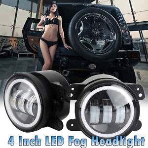 Led Halo Fog Lights Angel Eye 4 Inch For 2007 17 Jeep Wrangler Jk Tj Accessories