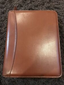 Classic 1 5 Gold Rings Vintage Tan Leather Franklin Covey Zip Planner Binder