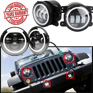 7 4 Inch Led Headlight Round Fog Light Halo Angle Eye For Jeep Wrangler Parts