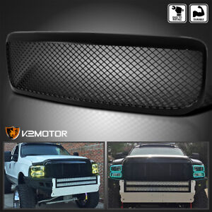 1999 2004 Ford F250 Abs Black Mesh Front Hood Grill Grille Cover Assembly