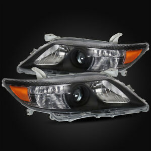 For 2010 2011 Toyota Camry Black Projector Headlights Lamps Assembly Replacement