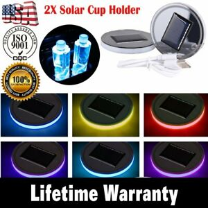 2x Solar Cup Holder Bottom Pad Led Light Cover Trim Atmosphere Lamp For All Car