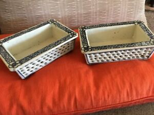 Old Pair Estate Chinese Porcelain Blue White Planter Pots W 7 Ching