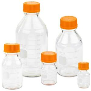 Corning Pyrex 1395 set Round Media Storage Bottle Set W Gl45 Screw Cap