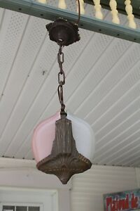 Antique Entry Art Deco Slip Shade Ceiling Light Fixture Chandelier 2 Shades