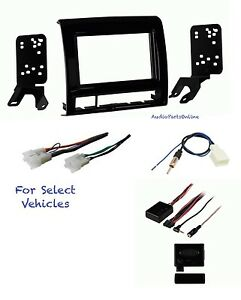 Black Double Din Stereo Kit Combo W steering Adapter For 2012 2015 Toyota Tacoma