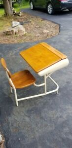 Vintage Child S School Desk With Chair