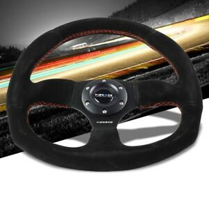 Suede red Stitch D shape Flat Bottom 320mm 330mm Rst 009s rs Nrg Steering Wheel