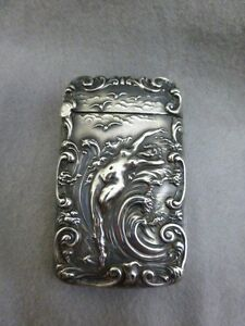 Gorgeous Unger Brothers Sterling Silver Match Safe Vesta Case Nude In Waves