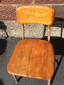Vtg Student Heywood Wakefield Wood Metal School Chair Seat Line Is Not A Crack