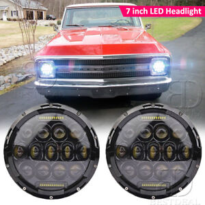 2x7 Inch Round Led Headlight Replacement For Chevrolet G10 g20 g30 c10 c20 c30