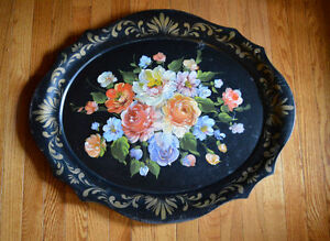 Vintage Black Hand Painted Tole Wear Tray With Roses