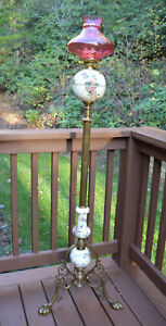 Antique Victorian Duplex Made In England Paw Foot Piano Or Floor Lamp With Pink