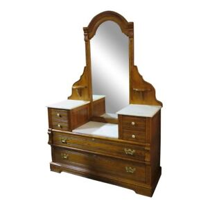 Vintage Lexington Solid Oak Drop Front Dresser W Marble Tops Mirror