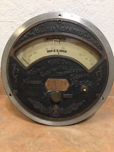 Weston Electric Voltmeter Micro Amperes Ohms Large Ornate Face Patent 1901