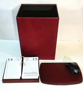 new Leather Desk Set Mouse Pad Waste Basket And Desktop Calendar Burgundy