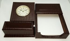 new Croco Leather 3 Pc Desk Set Table Clock Business Card Holder Memo Case