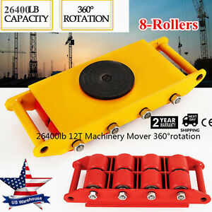 Industrial Machinery Mover W 360 rotation Cap 26400lbs 12t Dolly Skate 8 rollers
