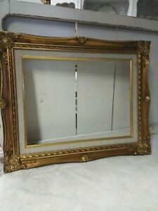 Vintage All Wood Gold Frame Great Condition Opening 12x16 Outside Size 21x17