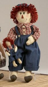 Primitive Country Rustic 18 Raggedy Country Boy Doll With Toy Doll