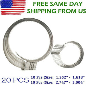 20 Pcs Universal Adjustable Axle Cv Joint Boot Crimp Clamps Large Small Kit Us