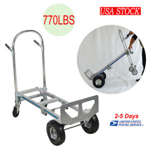 770 Lbs Folding Hand Truck Collapsible Cart Trolley Luggage Dolly W 4 Wheels Us