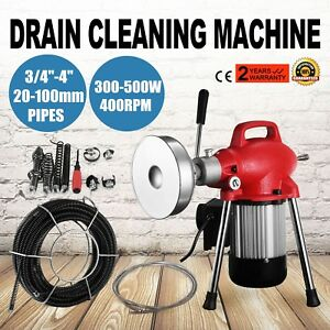 3 4 4 Sectional Pipe Drain Auger Cleaner Machine Snake Sewer Clog W Cutter