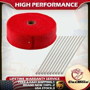 Carbole 2 X 50ft Manifold Header Exhaust Thermal Heat Tape Wrap 10 Ties Red