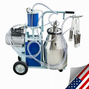 Portable Electric Milking Machine Milker Cows Stainless Steel 25l W Bucket Ups