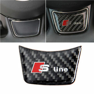 Carbon Fiber A1 A3 A4l A5 A7 Q3 Sline Steering Wheel Emblem Badge Sticker Decal