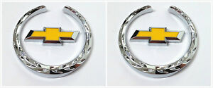 2pcs For Chevrolet Emblem Badge Crest Fender Side Metal Decals Sticker Chevy New