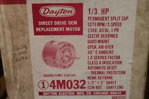 Dayton Direct Drive Motor 1 3hp 230v 1075rpm 2 spd Nema 48 Frame 4m032