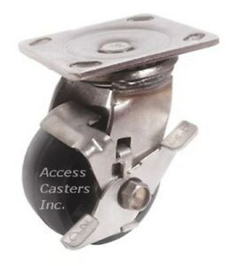 6pssdsb 6 Stainless Steel Swivel Caster Heavy Duty Plastic Wheel With Brake