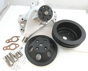 Sb Chevy Sbc Aluminum Long Water Pump Black Billet Aluminum Pulley Kit 327 350