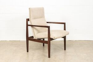 Mid Century Lounge Chair Jens Risom Floating Upholstered Beige Arm Chair Vintage