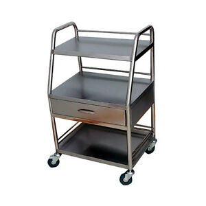 Stainless Steel Medical Lab Trolley Dental Three Layers Cart W One Drawer Bos